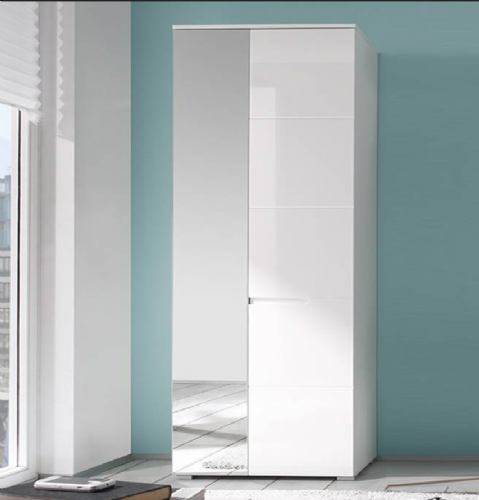 Santino White Gloss Slim Wardrobe with Mirrored Door S22 - 2643